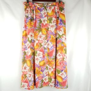 Sk & Company Womens 80s Vintage Floral Maxi Skirt